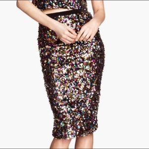 H&M SEQUIN PENCIL SKIRT - W M US